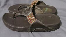 Women's Skechers Tone-Ups Brown Leather Flip-Flops Sandals Embroidered Size 8