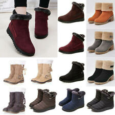 Womens Plain Winter Snow Boots Fur Warm Casual Booties Thermal Shoes Outdoor HOT