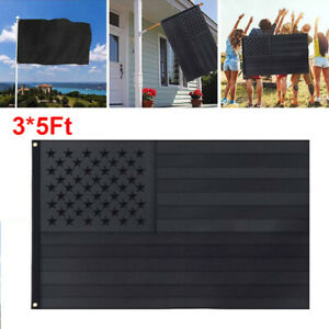 All Black American Flag 3x5FT Embroidered US USA Flag Blackout Tactical Grommets
