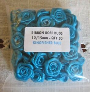Satin Ribbon Rose - 12-15mm.  Packet of 50! FREE P&P ** CLEARANCE**  KINGFISHER