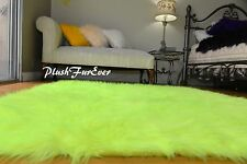 "58"" x 72"" Faux Fur Nursery Rectangle Neon Yellow Area Rug Modern Sheepskin Faux"