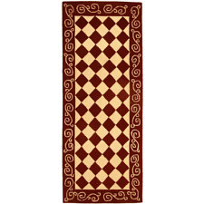 Chelsea Burgundy / Ivory 3 ft. x 6 ft. Runner Rug Hand hooked with Soft Hues New