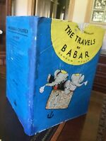 The Travels of Babar, De Brunhoff 1st Ed,,Script,1934, Printed by Duenewald D/J