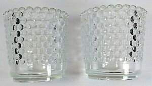 Vtg Clear Glass Votive Hobnail Candle Holder-Set of 2-Pressed Glass- 2.5 in tall