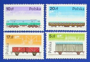 Z72 POLAND 1985 Trains set of 4 stamps, Mint complete NH