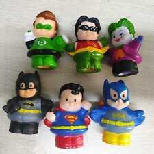 6pcs Little People DC Super Friends S Batman Robin Batgirl Superman Woder Woman