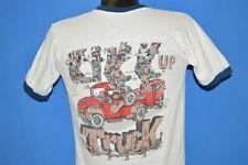 vintage 80s KIKK UP TRUCK TRUCKERS BOOTS HORSE WHITE RINGER t-shirt MEDIUM M