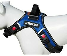 Adjustable Blue Service Dog Harness Vest Patches Reflective Size - Medium