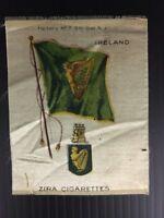 Vintage Zira Cigarettes Ireland Flag Tobacco Card Silk