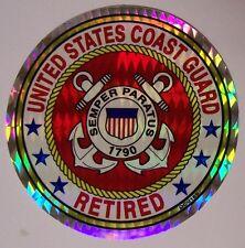 Window Bumper Sticker Military Coast Guard Retired NEW Prismatic