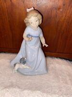 "NAO Lladro Spain Daisa Girl Figurine with Puppy 7"""