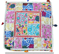 "Khambadiya Patchwork Stool Cotton Pillow Cover Indian 35"" Ottoman Floor Pouf Art"