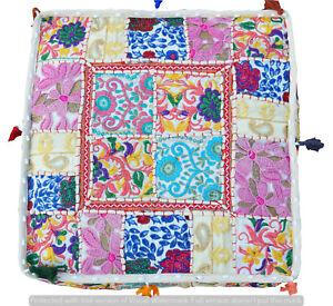 "Khambadiya Patchwork Stool Cotton Pillow Cover Indian 35"" Ottoman Floor Pouf Art"