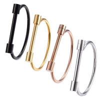 "Stainless Steel Bangle Bracelet Screw Clasp Black Rose Gold 2.4"" Diameter P515"