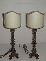 COPPIA candelabri lampade da tavolo abat-jour con pergamena impianto elettrico