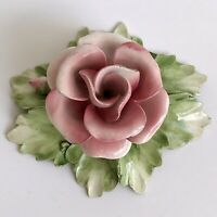 CAPODIMONTE Porcelain Flower Pink Rose Home Decor Baroque Ornament N Crown Italy