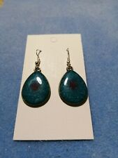 Handmade Unique Resin Pear Shaped Drop Earrings, Green With A Drop Of Purple