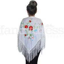 Flamenco Español chal Blanco Multi Rose tradicional Flecos Bordado Manton Ne