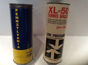 VINTAGE/ANTIQUE PENNSYLVANIA & XL50 SPALDING Metal TENNIS Ball CANS(2) with ball