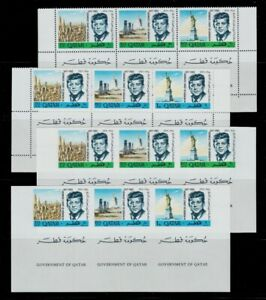 1966 QATAR IN MEMORIAM J F KENNEDY STRIP OF 3 +TABS NH SCT. 102-102A MI.128A-33A