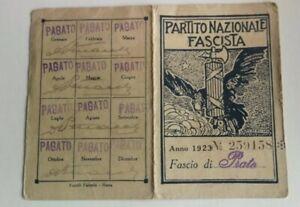 Tessera fascista PNF 1923 Prato Toscana Partito nazionale fascista Mussolini war