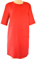 MARNI RED BLACK COLOR BLOCK SHORT SLEEVES WOOL DRESS SIZE 46