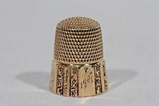Simons Brothers Thimble - 14k Gold Engraved Sewing Tool - Size #7 - Circa 1907