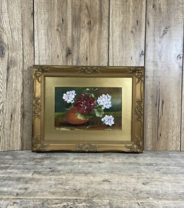 Antique Rococo Framed & Glazed Oil On Board Pink Floral Still Life Painting.