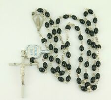 Vintage Sterling Silver & Plastic Rosary Necklace