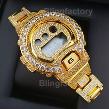 Men Iced Lab Diamond Authentic DW6900 Gold Brass Custom G Shock Bust Down Watch