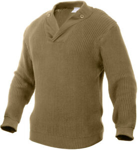 Thick Knit Ribbed Military WWII Style Mechanics Sweater with Elbow Patches