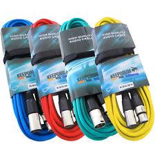 Tamburi 4x Cavo Microfono Set 10m XLR 4 Colori Rosso Blu Giallo Verde