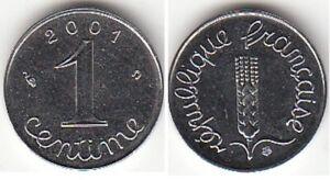 Monnaie Française 1 Centime épi 2001
