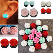 1-4 Pairs Black Double Flared Acrylic Colored Rose Ear Plugs Ear Gauges 0G-9/16""