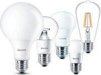 LAMPADINE LED E27 PHILIPS da 4W a 13.5W Globo Goccia Miniglobo Dimmer Filamento