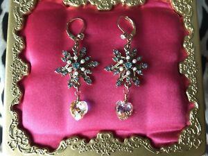 Betsey Johnson Snow Angel Winter Snowflake Pearl Blue Crystal AB Heart Earrings
