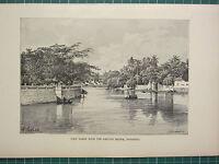 C1890 Antico Stampa ~ Vista Di Surabaya Da The Genting Ponte