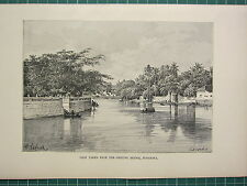 C1890 antique print ~ vue de surabaya from the Genting bridge