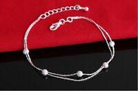925 Sterling Silber Pl. Armband Perle Doppel Beschichtet Filigran Boho