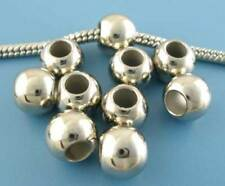 20 x Silver Acrylic Smooth Ball Spacer Beads - Large Hole - UK Seller