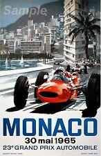 VINTAGE 1965 MONACO GRAND PRIX AUTOMOBILE RACING A4 POSTER PRINT