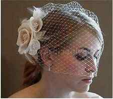 New Champagne/Ivory Flower Fascinator Wedding Bridal Birdcage Face Veil Stock