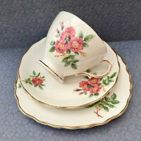 ROYAL VALE TRIO SET CUP SAUCER PLATE PINK ROSES c1950s GILDED BONE CHINA + PLATE