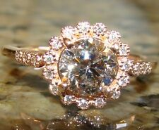 1.14 ct PINK CHAMPAGNE & WHITE Round Halo DIAMOND Engagement Ring 14K Rose Gold