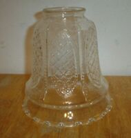 "Vintage Embossed Clear Art Glass Bell Lamp / Light Fixture Shade 2 1/8"" Fitter B"