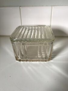 Vintage Depression Glass Butter Box 1930's  Art Deco 1lb Country Kitchen