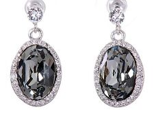 Earrings Rhodium Plated Authentic 7161a Swarovski Elements Crystal Calista Halo
