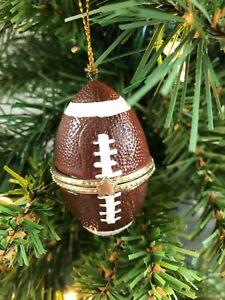 Christmas Ornament Football Hinged Trinket Box Ornament Porcelain Gift Handpaint