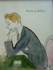 Georges BREITEL dit BIB / Caricaturiste / Aquarelle Le Prince de Galles / 1925