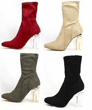 Cape Robbin Fay-1 Block Clear Lucite Perspex Heel Ankle Boot Bootie Shoes